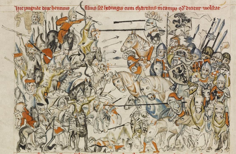 Битва при Легнице. Миниатюра XIV в.