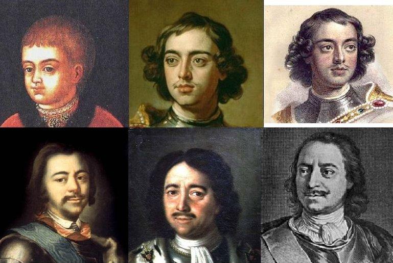 Царь Пётр Алексеевич до Великого Посольства (верхний ряд) и после него (нижний ряд)