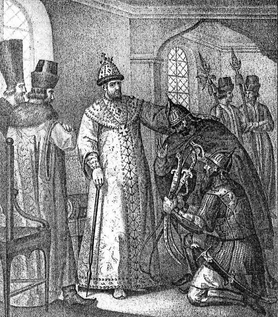 Иван Грозный принимает трофеи, взятые в битве при Молодях