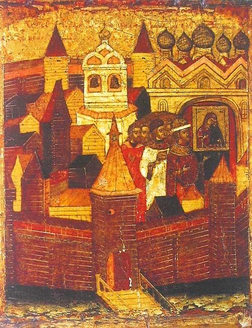 Крестный ход против чумы с иконой