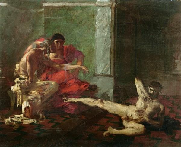 Нерон и Локуста испытывают яд, предназначенный для Британника на рабе