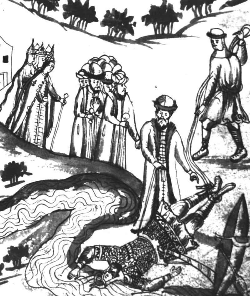 Миниатюра из «Истории Сибирской» С.У. Ремезова. Тело Ермака вылавливают из Иртыша