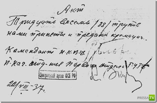 Справка на трупы, подписанная палачом Василием Блохиным